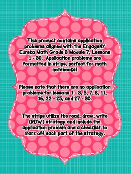 Engage NY Eureka Math Grade 3 Module 7 Application Problem Strips