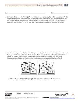 Engage NY - Eureka Math Grade 6 Module 1 End-of-Module Assessment Answer Keys