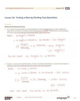 Engage NY - Eureka Math Grade 6 Module 1 Lesson 18 Student Workbook Answer  Keys