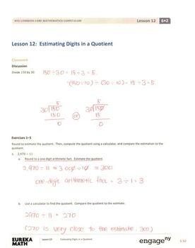 Engage NY - Eureka Math Grade 6 Module 2 Lesson 12 Student Workbook Answer Keys