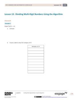 Engage NY - Eureka Math Grade 6 Module 2 Lesson 13 Student Workbook Answer Keys