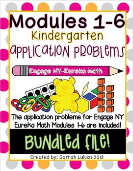 Engage NY Eureka Math Kindergarten Application Problems: Modules 1-6 BUNDLE