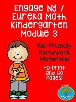 Engage NY / Eureka Math Kindergarten Module 3 Supplemental Homework Materials