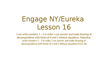 Engage NY/Eureka Math Module 1 Lesson 16