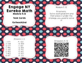 Engage NY Eureka Math Module 5 : Lesson 12  Math Center - Task Cards- Scoot Game