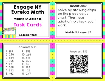 Engage NY Eureka Math Module 5 : Lesson 15  Math Center - Task Cards- Scoot Game