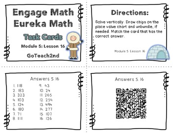 Engage NY Eureka Math Module 5 : Lesson 16  2.NBT.7 Math Center - Task Cards