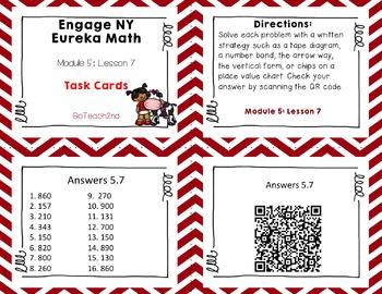 Engage NY Eureka Math Module 5 : Lesson 7 Math Center - Task Cards- Scoot Game