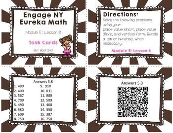 Engage NY Eureka Math Module 5 : Lesson 8 Math Center - Task Cards- Scoot Game