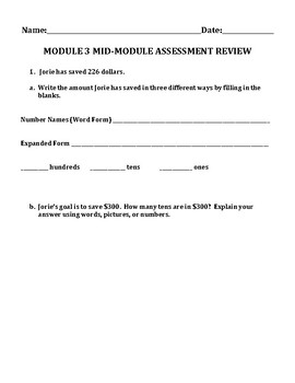 Engage NY Eureka Math Zearn SECOND GRADE Module 3 Mid-Assessment Review Sheet