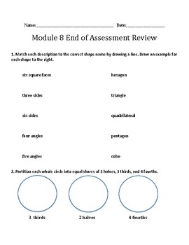 Engage NY Eureka Math Zearn SECOND GRADE Module 8 End Assessment Review Sheet