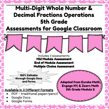 Fifth Grade Math Assessment/Test Prep (Whole Number & Decimal Operations)