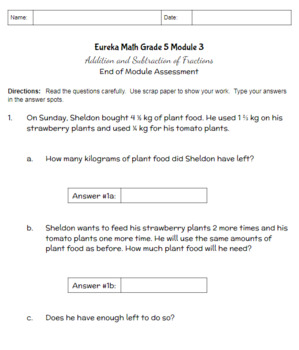 Engage NY Fifth Grade Math Module 3 Assessment