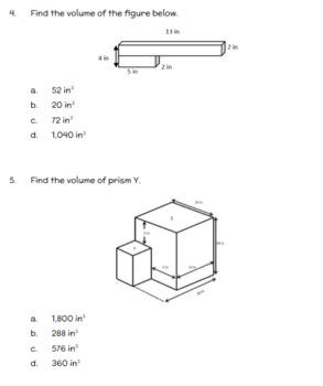 Fifth Grade Math Assessment/Test Prep (Volume & Area)