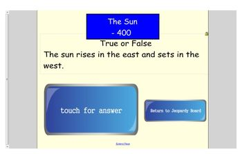 Engage NY First Grade ELA Domain 6 Astronomy Jeopary Review Game for SMARTboard
