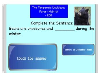 Engage NY First Grade ELA Domain 8 Animals and Habitats Jeopardy Review