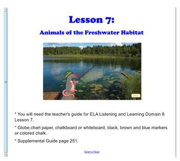 Engage NY First Grade ELA Domain 8 Animals and Habitats Lesson 7