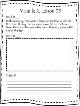 Engage NY First Grade Module 2 Lesson 22-29 Application Problem Journal