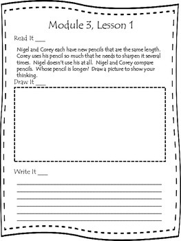 Engage NY First Grade Module 3 Lessons 1-9 Application Problem Journal