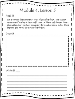 Engage NY First Grade Module 4 Lesson 1-12 Application Problem Journal