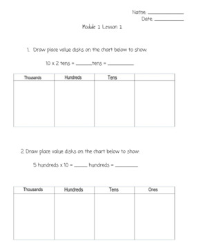 Engage NY Fourth Grade Module 1 Adapted Homework