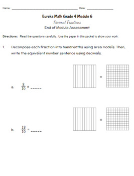 Fourth Grade Math Assessment/Test Prep (Decimals)
