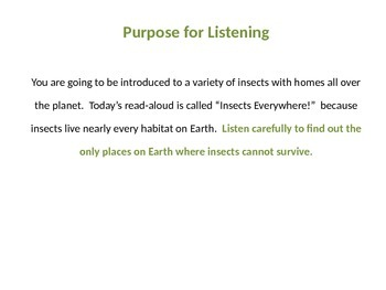 Engage NY Grade 2 ELA Listening Domain Insects : Lesson 1
