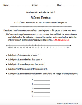 Grade 6   Rational Numbers Math Assessment   Test Prep   Engage NY Module 3 EDIT