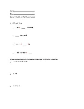 Engage NY Grade 6 Math- Module 4 Mid review