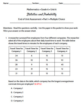 Grade 6 | Statistics & Probability Math Assessment | Test | Engage NY  Module 6