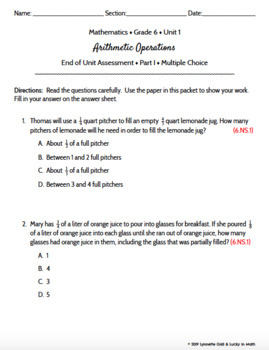 Engage NY Grade 6 Math Module 2 Arithmetic Operations Assessment Test Prep EDIT