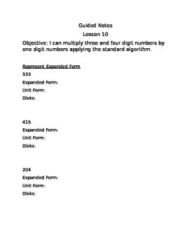 Engage NY Guided Notes Module 3 Lesson 10