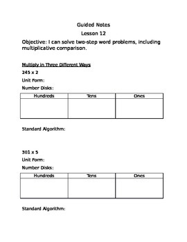 Engage NY Guided Notes Module 3 Lesson 12