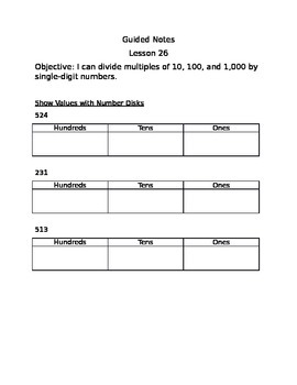 Engage NY Guided Notes Module 3 Lesson 26