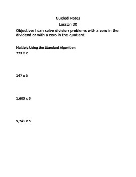Engage NY Guided Notes Module 3 Lesson 30