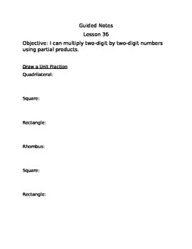 Engage NY Guided Notes Module 3 Lesson 36