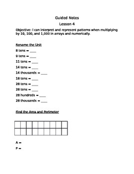 Engage NY Guided Notes Module 3 Lesson 4