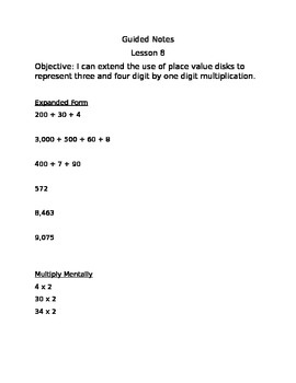 Engage NY Guided Notes Module 3 Lesson 8