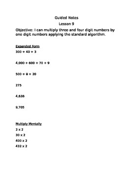 Engage NY Guided Notes Module 3 Lesson 9
