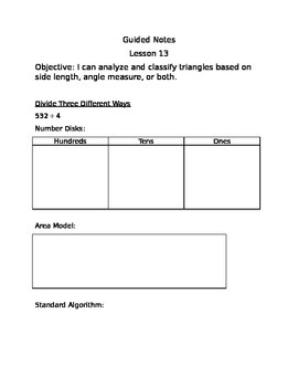 Engage NY Guided Notes Module 4 Lesson 13