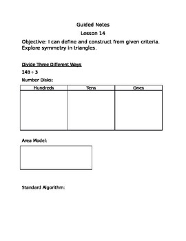 Engage NY Guided Notes Module 4 Lesson 14