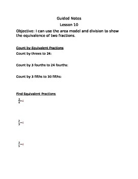 Engage NY Guided Notes Module 5 Lesson 10