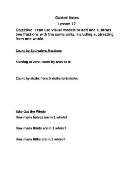 Engage NY Guided Notes Module 5 Lesson 17