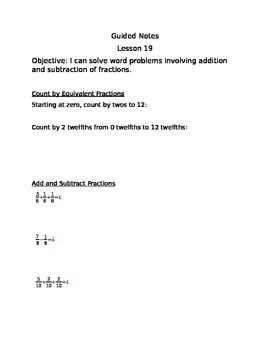 Engage NY Guided Notes Module 5 Lesson 19