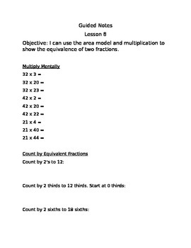 Engage NY Guided Notes Module 5 Lesson 8