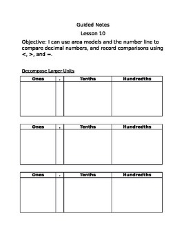 Engage NY Guided Notes Module 6 Lesson 10
