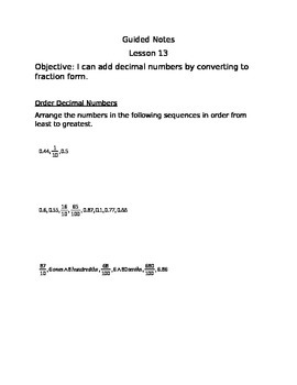 Engage NY Guided Notes Module 6 Lesson 13