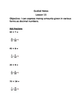 Engage NY Guided Notes Module 6 Lesson 15