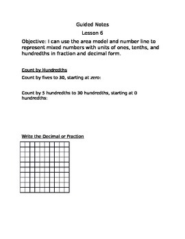 Engage NY Guided Notes Module 6 Lesson 6