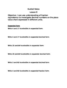 Engage NY Guided Notes Module 6 Lesson 8